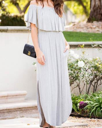 Classic Off-the-Shoulder Casual Maxi Dress