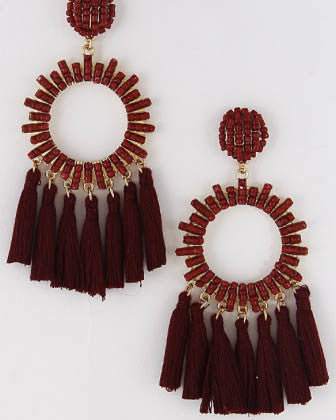 Beaded Circle Tassel Earrings - Burgundy - Roehampton Road