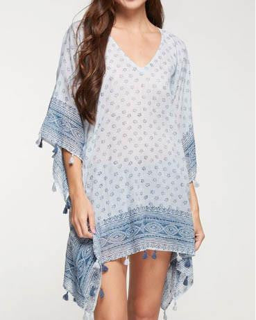 Beachy Blue Printed Tassel Trim Caftan Cover-Up - Roehampton Road