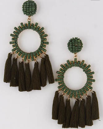 Beaded Circle Tassel Earrings - Olive - Roehampton Road