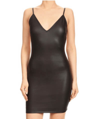 BodyCon Faux Leather Slip Dress