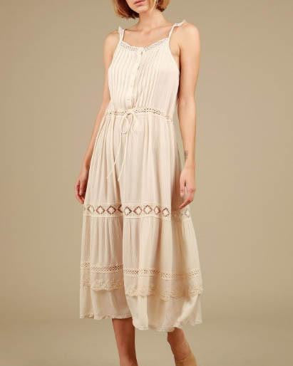 Crochet Detail Ivory Boho Chic Maxi Dress