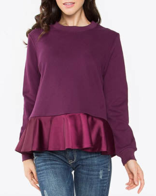 Crew Cut Sweater With Silk Ruffle Bottom Detail