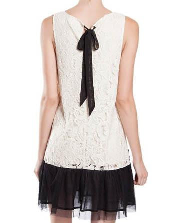 Ivory Lace Bow Tie Drop Waist Dress