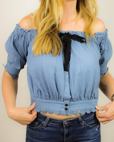 Off-The-Shoulder Denim Top With Black Bow