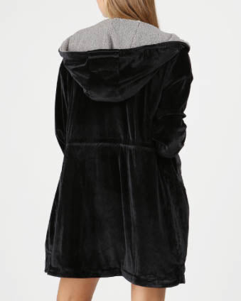 Sherpa Lined Velvet Hooded Jacket