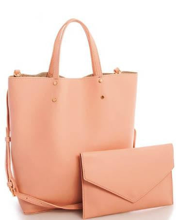 Soft Vegan Leather Tote With Matching Clutch