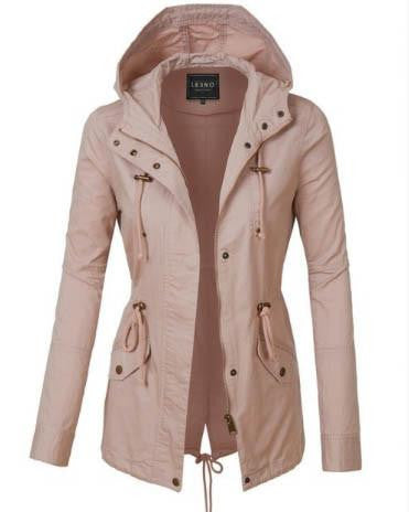 Pale Pink Casual Everyday Hooded Jacket