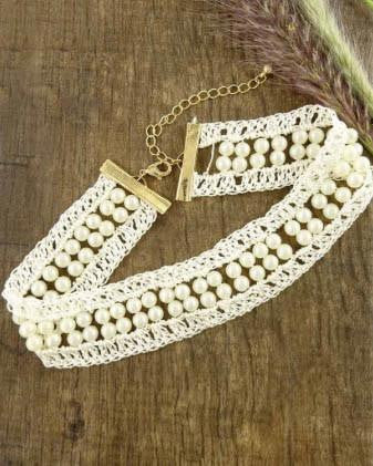 Lace Trim And Pearl Choker Necklace