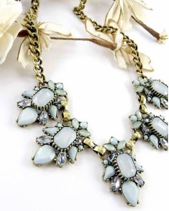Light Blue Stone Statement Necklace