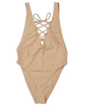 Lace-Up High Cut One-Piece Swimsuit - Blush