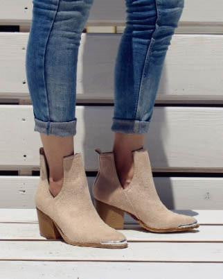 Faux Suede Nude Bootie with Steel Toe Trim Detail