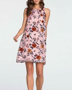 MISS ME Sleeveless Floral Embroidered Dress