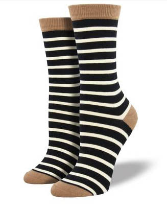 Bamboo Sailor Black Stripe Socks
