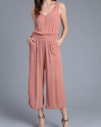 Sleeveless Open Back Jumpsuit With Elastic Waist Band
