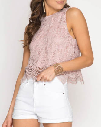 Sleeveless Lace Crop Top - Misty Pink