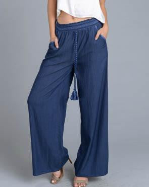 Chambray Wide Leg Pants With Tassel