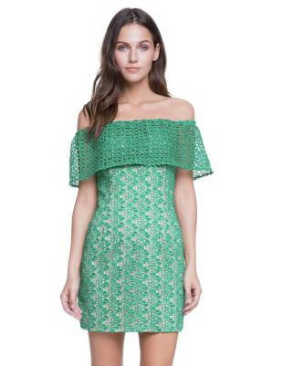 Kelly Green Cutout Lace Off-The-Shoulder Mini Dress