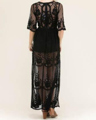 Black Crochet Lace Sheer Maxi Dress
