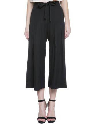 Black Culotte Pants With Waist Tie