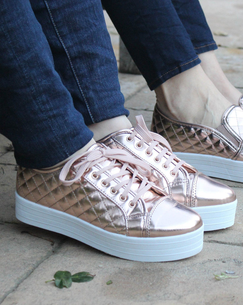 RAD Rose Gold Quilted Lace-Up Sneaker
