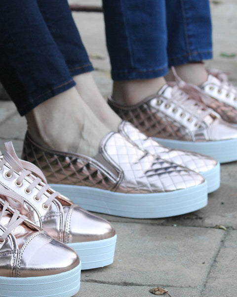 RAD Rose Gold Quilted Slip-On Sneaker