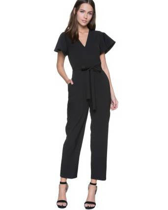 Short-Sleeved Jumpsuit With Tie Waist