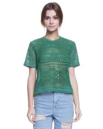 Kelly Green Punch Pattern Short Sleeve Top