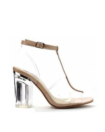 Clear Lucite Nude Pump With Nude Patent Strap