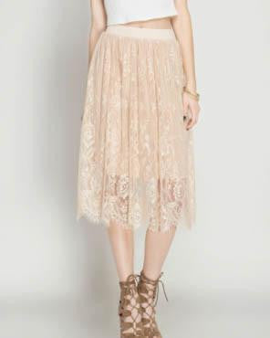 Ivory Floral Detail Lace Midi Skirt