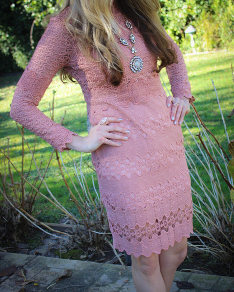 Cut Out Lace Long-Sleeved Dress - More Colors Available!