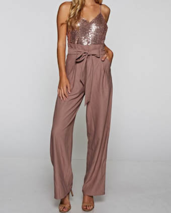 Sequin Top Jumpsuit - Dusty Rose