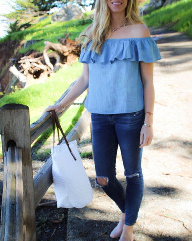 Chambray Off-The-Shoulder Ruffled Cotton Denim Top
