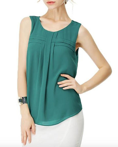 Cypress Green Front Cross Over Sleeveless Top