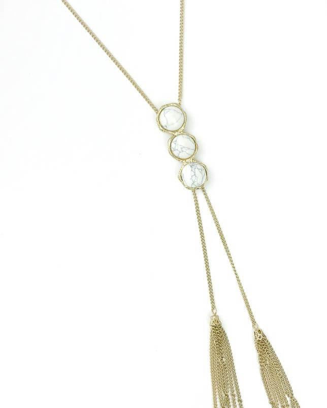 3-Tier Circle White Marble Necklace with Tassels