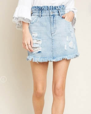 Ruffled High Waisted Skirt - Light Denim