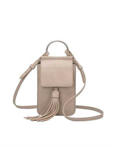 Melie Bianco Dory Small Crossbody With Tassels - Bone