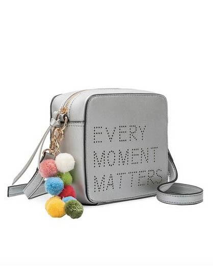 Every Moment Matters Silver Purse With Detachable Pom Poms