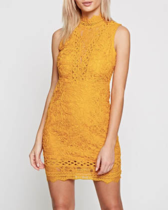 Mock Neck Mini Lace Dress - Freesia