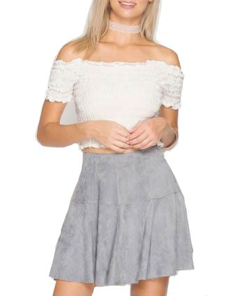 Faux Suede Mini Skirt - Grey