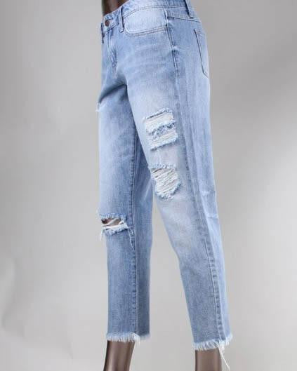 Flying Monkey Fray Hem Distress Boyfriend Jeans