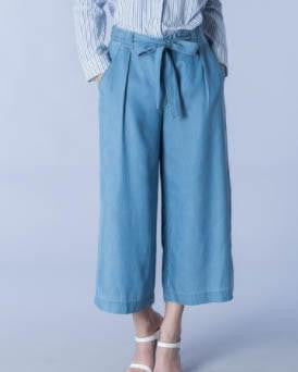 Lightweight Denim Style Paperbag Culotte Pants