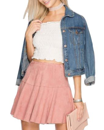 Faux Suede Mini Skirt - Dusty Rose