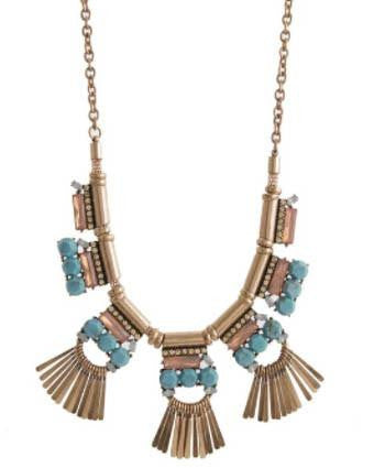 Turq and Washed Pink Fringe Statement Necklace
