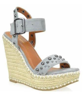 Grey Summer Wedge With Studded Detail