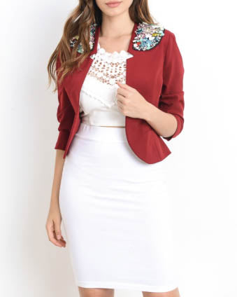 Jewel Embellished Blazer - Burgundy