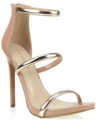 Metallic Nude Strappy Sandal Pump