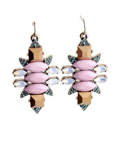 Pink And Gold Statement Drop Earrings