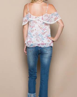 Chiffon Floral Cold Shoulder Top