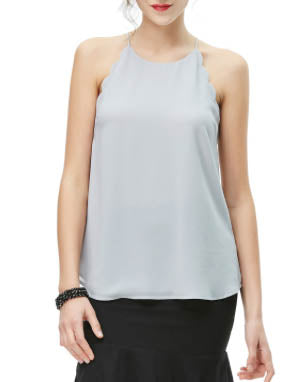 NAKED ZEBRA Scallop Detail Tank Top - More Colors Available!